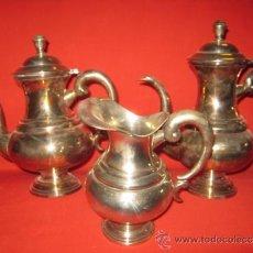 Antigüedades: CAFETERA Y TETERA DE ALPACA DE BONITAS FORMAS.. Lote 26449557