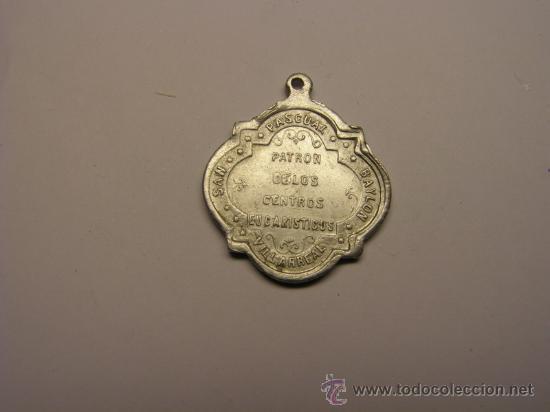 Antigüedades: Medalla religiosa de San Pascual Bailón, Villarreal. - Foto 2 - 60968209