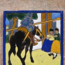Antigüedades: AZULEJO ANTIGUO - ESCENA DE EL QUIJOTE. MEDIDAS : 14 X 14 CMS.. Lote 40188054