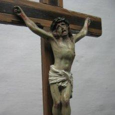 Antigüedades: SIGLO XIX - CRISTO EN PLOMO MACIZO CON POLICROMIA ORIGINAL. Lote 36423099