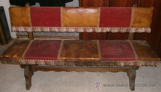 banco de madera, con cuero, tela y tachuelas - Comprar Sillas ...