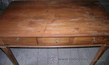 Antigüedades: Escritorio madera nogal. 3 cajones - Foto 5 - 34298643