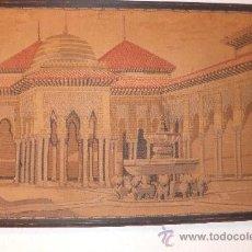 Antigüedades: TAPIZ ANTIGUO PATIO DE LOS LEONES DE LA ALHAMBRA ( GRANADA) PRINC. S XX. Lote 164325889