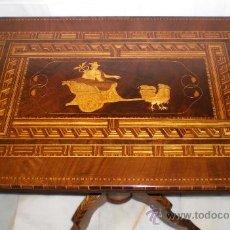 Antigüedades: MESA VELADOR CON PATA CENTRAL. S.XIX. CON MARQUETERÍA.CAOBA, NOGAL, LIMONCILLO. EXCELENTE ESTADO.. Lote 36469399