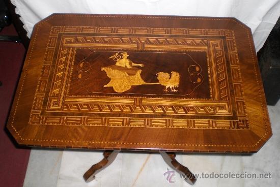 Antigüedades: Mesa Velador con pata central. S.XIX. Con marquetería.Caoba, Nogal, Limoncillo. Excelente estado. - Foto 3 - 36469399