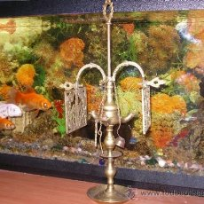 Antigüedades: ANTIGUA LAMPARA DE ACEITE EN BRONCE. Lote 36528602