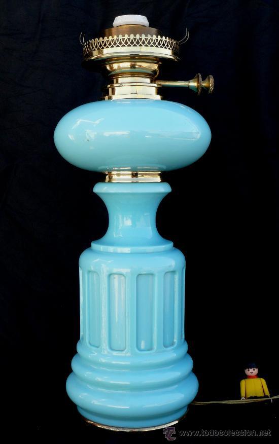 GRAN LAMPARA QUINQUE EN OPALINA AZUL Y DORADO PP XX IDEAL VINTAGE O POP (Antigüedades - Iluminación - Lámparas Antiguas)