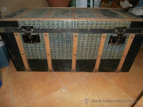 Antiguo baul en chapa y madera para restaurar comprar for Antiguedades para restaurar