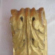 Antigüedades: 2 PEQUEÑAS MÉNSULAS PERTENECIENTES A UN ALTAR, TALLA DE MADERA POLICROMADA EN ORO. Lote 36543990