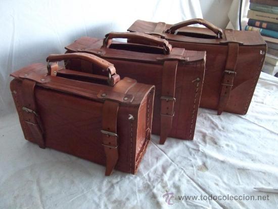 Lote 3 antiguas maletas de cuero maleta comprar moda for Maletas antiguas online