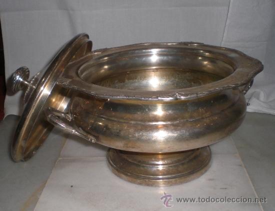 Antigüedades: Magnifica Sopera Antigua con baño grueso de plata, bonito diseño - Foto 3 - 36571634