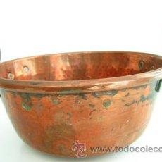 Antigüedades: ANTIGUA CAZUELA DE COBRE - 2 ASAS REDONDAS LATERALES DE HIERRO -- - FINALES S. XIX --- 21CM DIÁMETRO. Lote 36574374