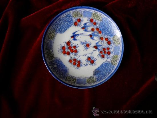 Antigüedades: Antiguo Plato de té en porcelana Japonesa - Foto 2 - 36580512