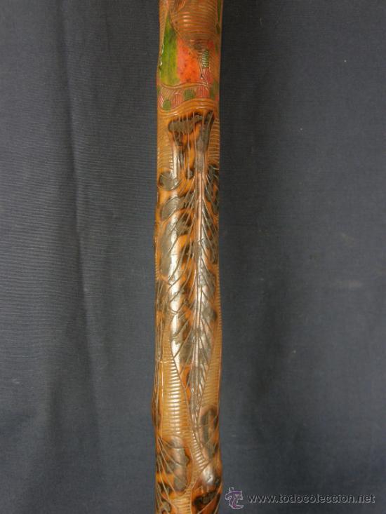Antigüedades: baston mejicano inciso pirograbado y policromado sXIX XX aguila serpiente y gorro frigio libertad - Foto 8 - 36580835