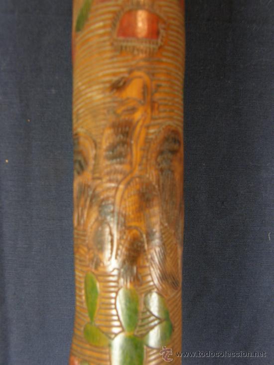 Antigüedades: baston mejicano inciso pirograbado y policromado sXIX XX aguila serpiente y gorro frigio libertad - Foto 7 - 36580835