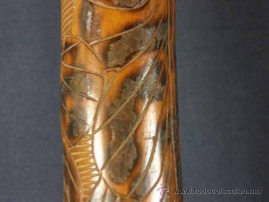 Antigüedades: baston mejicano inciso pirograbado y policromado sXIX XX aguila serpiente y gorro frigio libertad - Foto 5 - 36580835