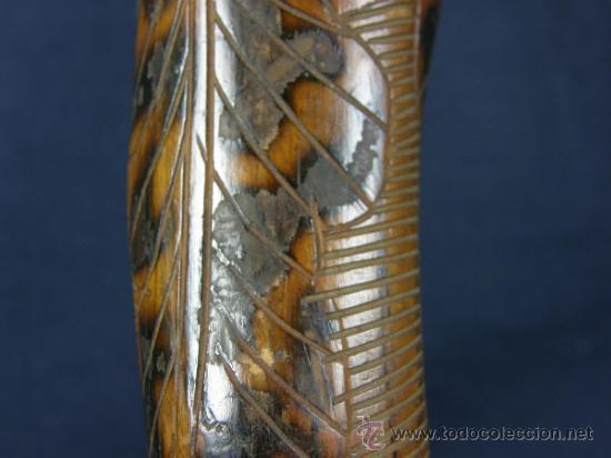 Antigüedades: baston mejicano inciso pirograbado y policromado sXIX XX aguila serpiente y gorro frigio libertad - Foto 4 - 36580835