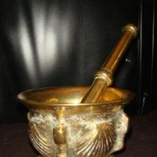 Antigüedades: ALMIREZ CON MORTERO DE BRONCE. ORIGINAL Y ANTIGUO. GALICIA. S. XVIII. Lote 36586118