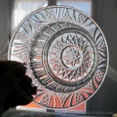 Antigüedades: CUENCO Y PLATO CRISTAL ANTIGUO DECORADOS. Lote 36597096