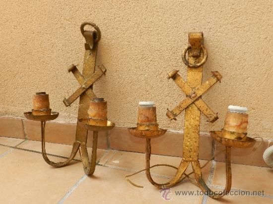 Pareja de apliques rusticos en forja comprar apliques antiguos en todocoleccion 37062895 - Apliques de pared rusticos ...
