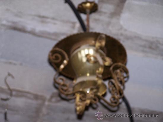 Antigüedades: Antiguo farol en forja y cristal - Foto 2 - 37171498