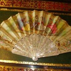 Antigüedades - Abanico isabelino,siglo XIX,Madre perla - 36712482