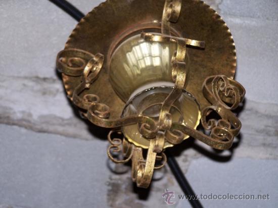 ANTIGUO FAROL EN FORJA Y CRISTAL (Antigüedades - Iluminación - Faroles Antiguos)