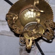 Antigüedades: ANTIGUO FAROL EN FORJA Y CRISTAL. Lote 37171498