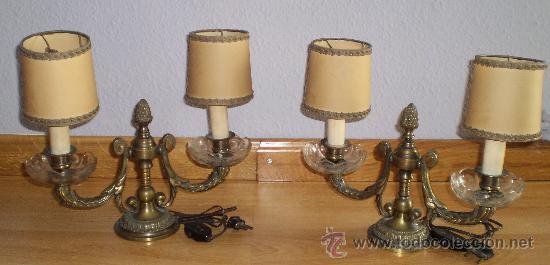 pareja de lamparas para mesita de noche aos en bronce y cristal con