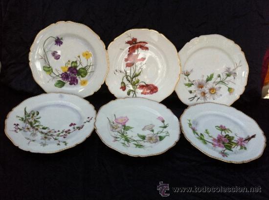 6 platos antiguos en porcelana pintado a mano s comprar for Platos cuadrados de porcelana