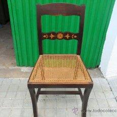 Antiquités: SILLA DE MOGNO CON MARQUETERIA. Lote 36740408