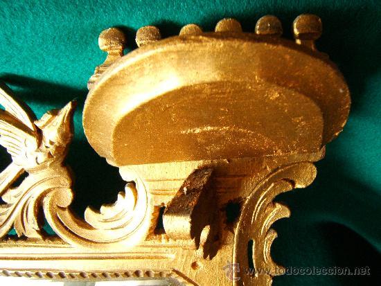 Antigüedades: EXPOSITOR MENSULA REPISA PARA COLGAR, DE MADERA PINTADA CON PAN DE ORO - 32X28 CM. - AÑO 1898. - Foto 4 - 36746239