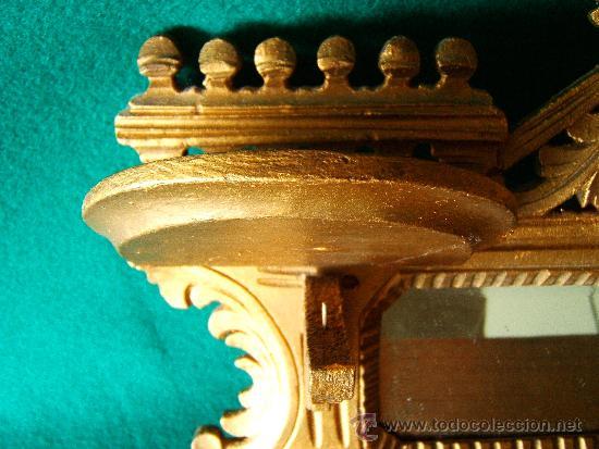 Antigüedades: EXPOSITOR MENSULA REPISA PARA COLGAR, DE MADERA PINTADA CON PAN DE ORO - 32X28 CM. - AÑO 1898. - Foto 6 - 36746239