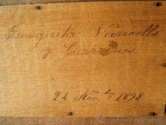 Antigüedades: EXPOSITOR MENSULA REPISA PARA COLGAR, DE MADERA PINTADA CON PAN DE ORO - 32X28 CM. - AÑO 1898. - Foto 12 - 36746239