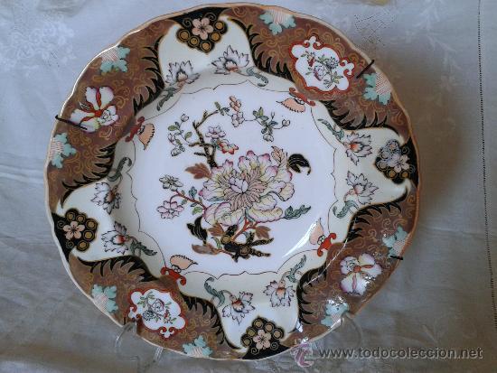 MASON'S IRONSTONE PLATE, 'TREE PEONY', PLACA DE HIERRO DE MASON, PEONIA.TODO PINTADO A MANO. C. 1820 (Antigüedades - Porcelanas y Cerámicas - Inglesa, Bristol y Otros)