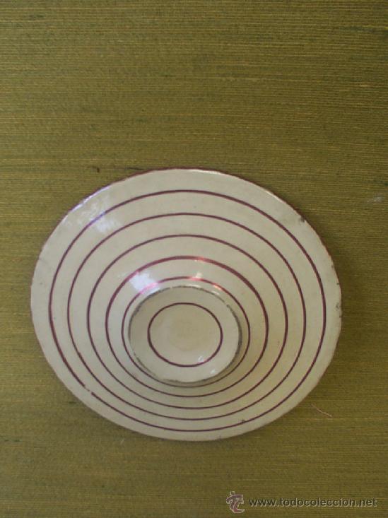 Antigüedades: Plato de reflejos dorados con líneas circulares al dorso. - Foto 2 - 36785283