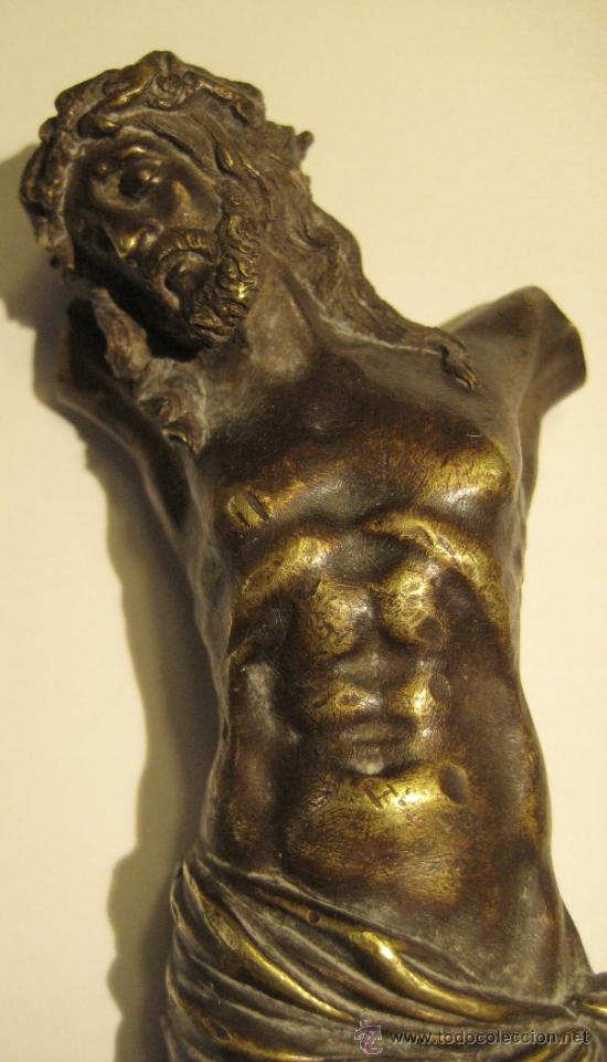 Antigüedades: ANTIGUO TORSO CRISTO DE BRONCE DORADO. 16,5 X 5 CM - Foto 2 - 36802967