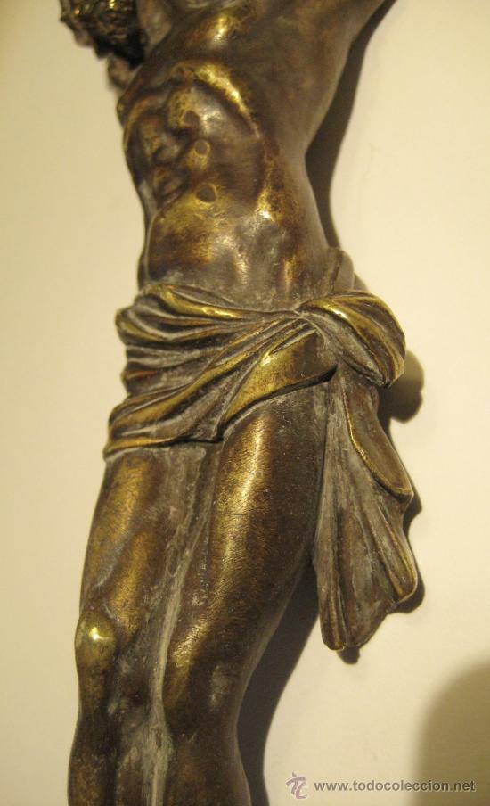 Antigüedades: ANTIGUO TORSO CRISTO DE BRONCE DORADO. 16,5 X 5 CM - Foto 4 - 36802967
