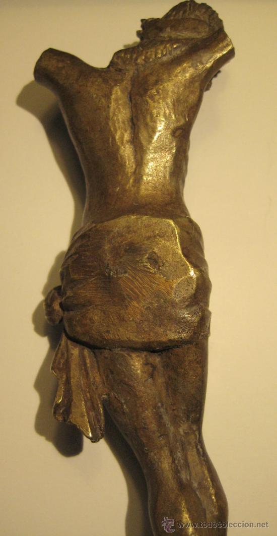 Antigüedades: ANTIGUO TORSO CRISTO DE BRONCE DORADO. 16,5 X 5 CM - Foto 5 - 36802967