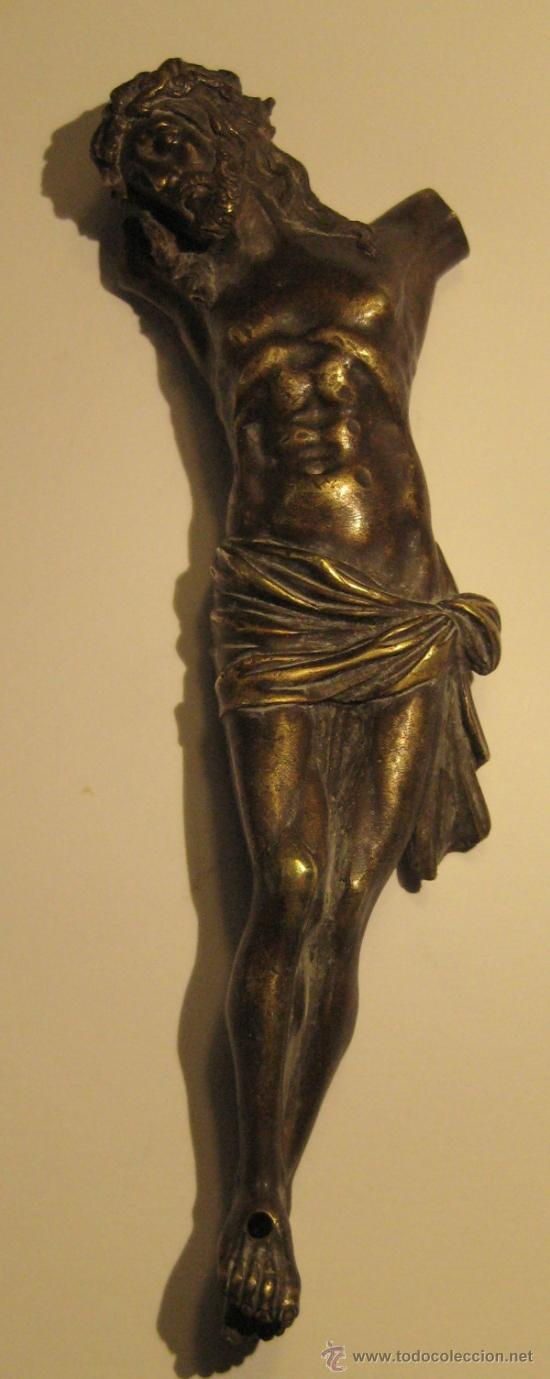 ANTIGUO TORSO CRISTO DE BRONCE DORADO. 16,5 X 5 CM (Antigüedades - Religiosas - Crucifijos Antiguos)