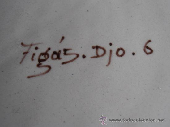 Antigüedades: PLATO DE CERAMICA, FIRMADO FIGÁS DJO. 6 - Foto 3 - 36807718