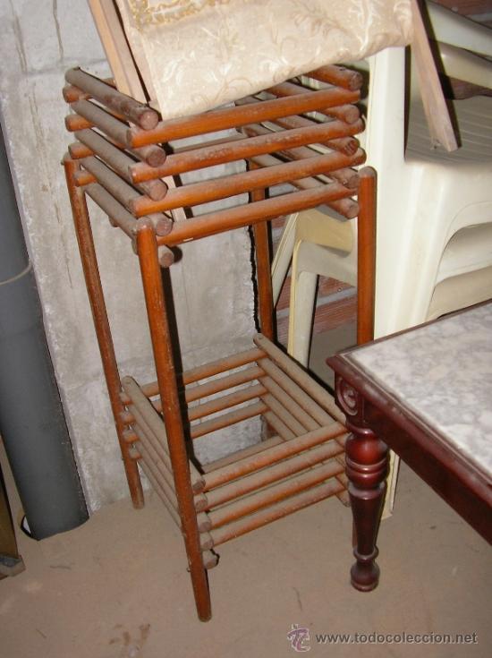 Antigüedades: Macetero antiguo en madera para dos macetas hecho a mano - Foto 2 - 36817577