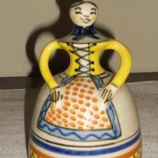 Antigüedades: CAMPANA CON FORMA DE MUJER CERAMICA ( TALAVERA CHACON ). Lote 36821658