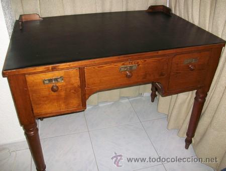 Antigüedades: Escritorio Clásico - Mueble Español - 100 Años - Muy Antiguo - Mesa de Despacho con 3 cajones - Foto 3 - 25819638