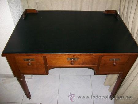 Antigüedades: Escritorio Clásico - Mueble Español - 100 Años - Muy Antiguo - Mesa de Despacho con 3 cajones - Foto 4 - 25819638