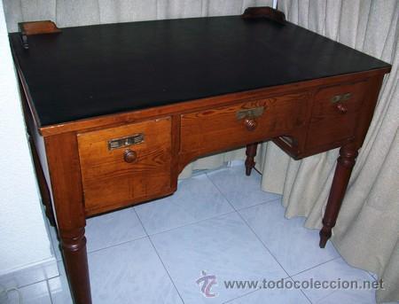 Antigüedades: Escritorio Clásico - Mueble Español - 100 Años - Muy Antiguo - Mesa de Despacho con 3 cajones - Foto 5 - 25819638