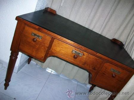 Antigüedades: Escritorio Clásico - Mueble Español - 100 Años - Muy Antiguo - Mesa de Despacho con 3 cajones - Foto 6 - 25819638
