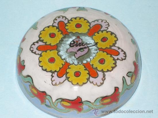 Antigüedades: PEQUEÑO CENTRO VIDRIO ESMALTADO, FIRMADO CIRERA - Foto 3 - 36847339