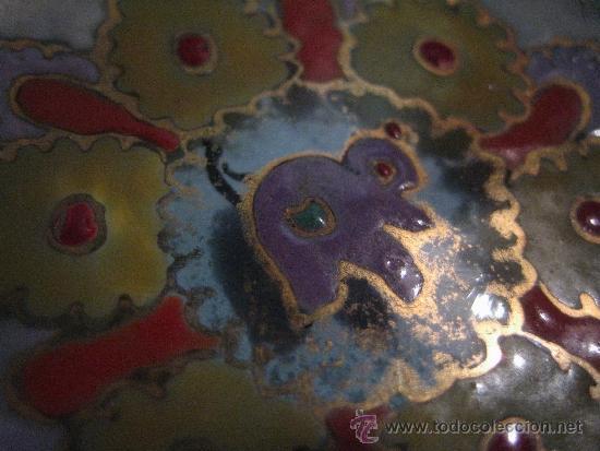 Antigüedades: PEQUEÑO CENTRO VIDRIO ESMALTADO, FIRMADO CIRERA - Foto 6 - 36847339