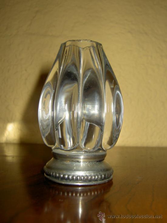PALILLERO CRISTAL TALLADO Y PIE PLATA (Antigüedades - Cristal y Vidrio - Inglés)
